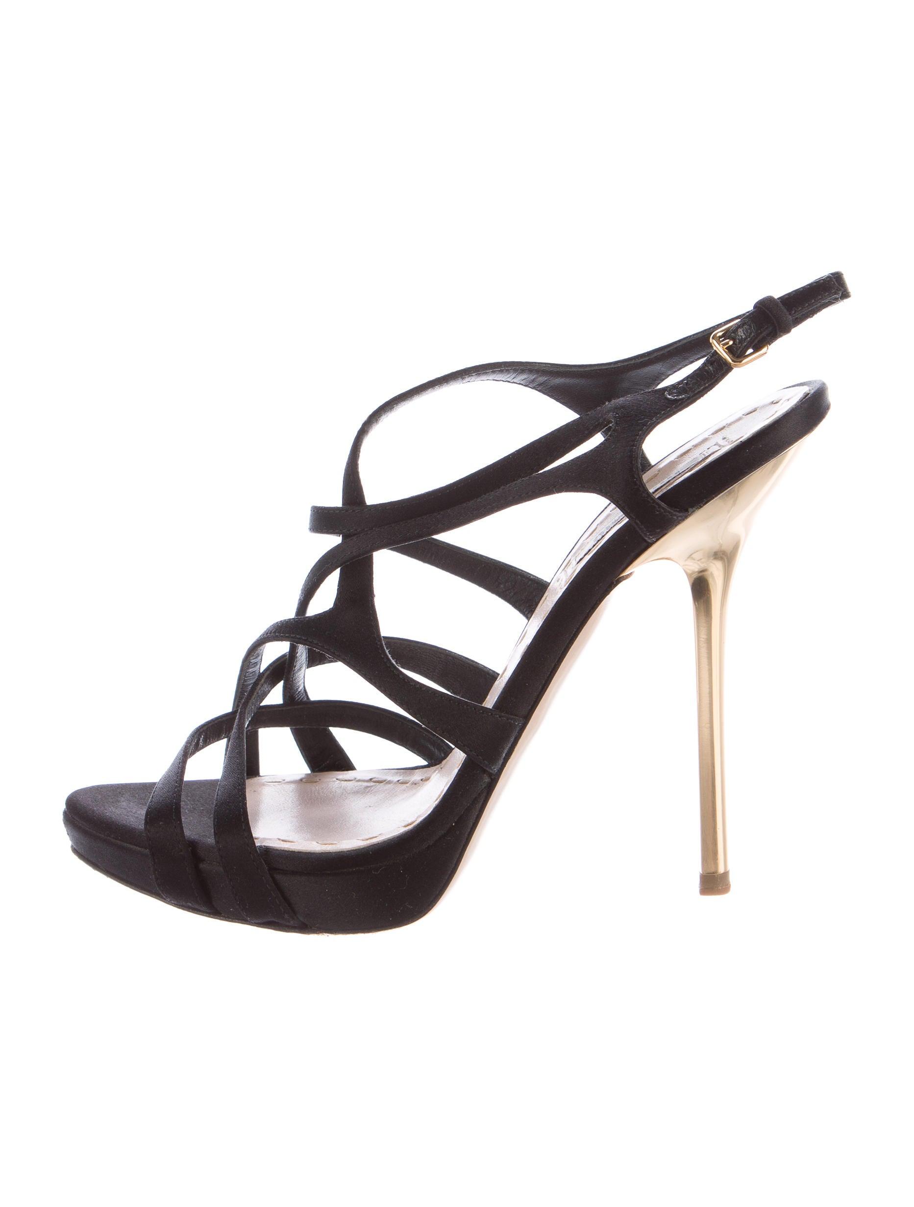 Miu Miu Satin Platform Cage Sandals - Shoes