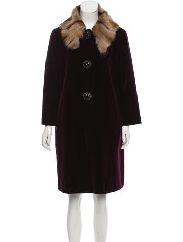 Miu Miu Velvet Fur-Accented Coat None