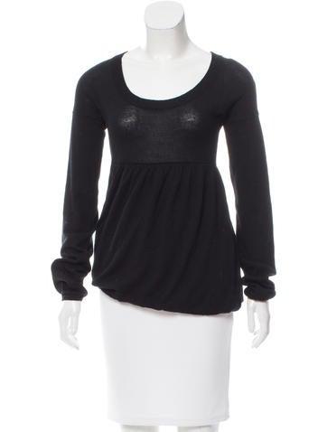 Miu Miu Gathered Long Sleeve Sweater None