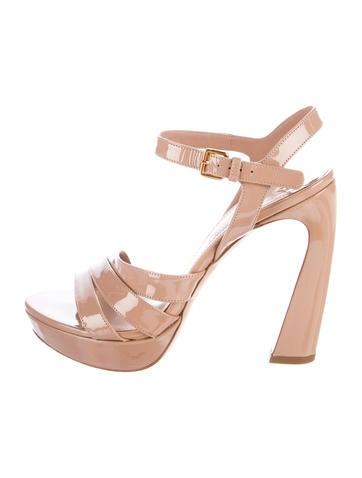 Miu Miu Patent Leather Platform Sandals None