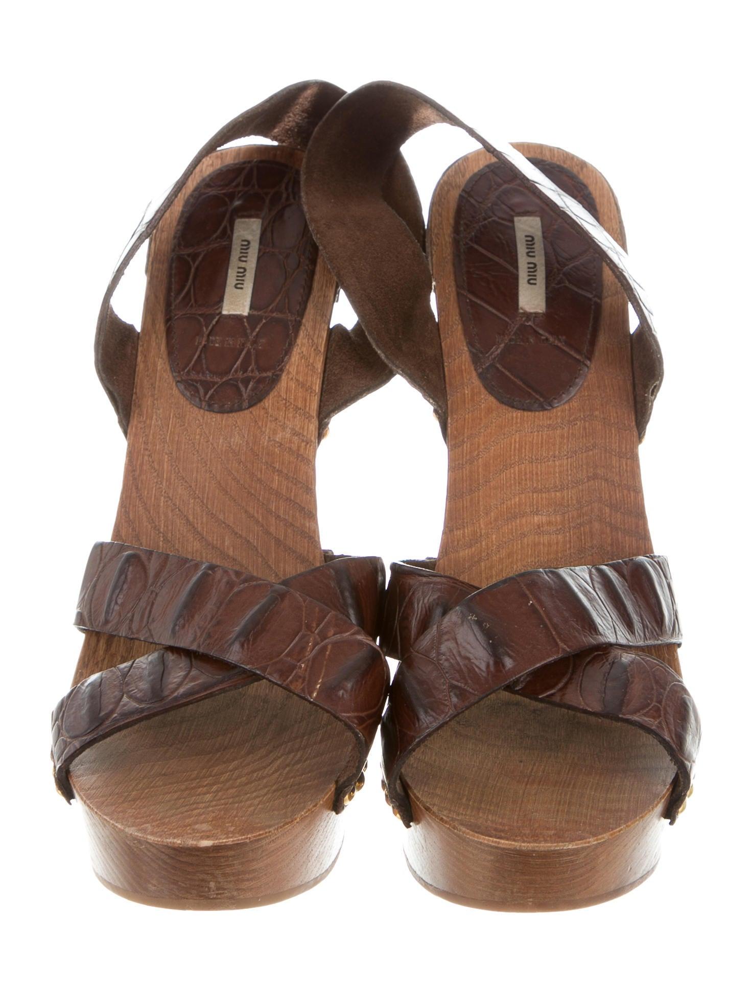 Miu Miu Crocodile Platform Sandals - Shoes