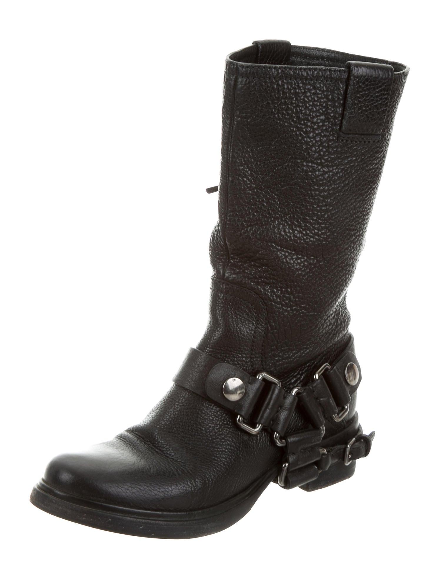 miu miu leather moto boots shoes miu51548 the realreal