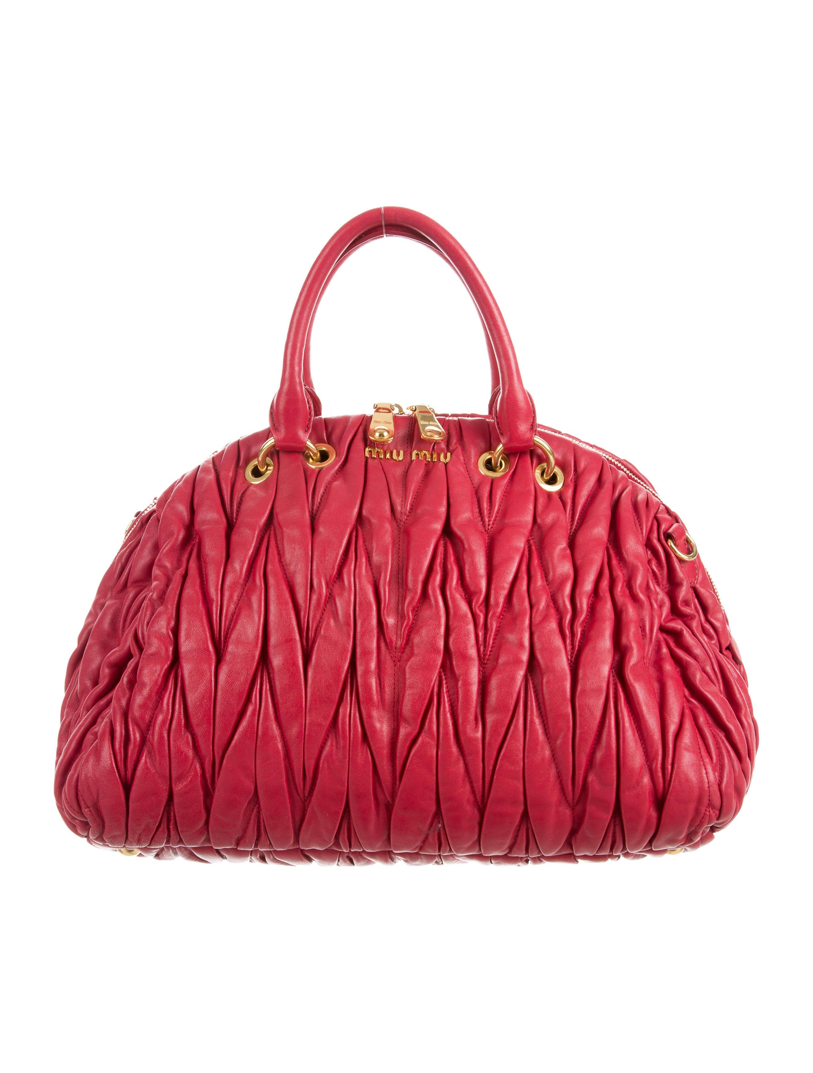 miu miu matelass leather satchel handbags miu51584 the realreal. Black Bedroom Furniture Sets. Home Design Ideas