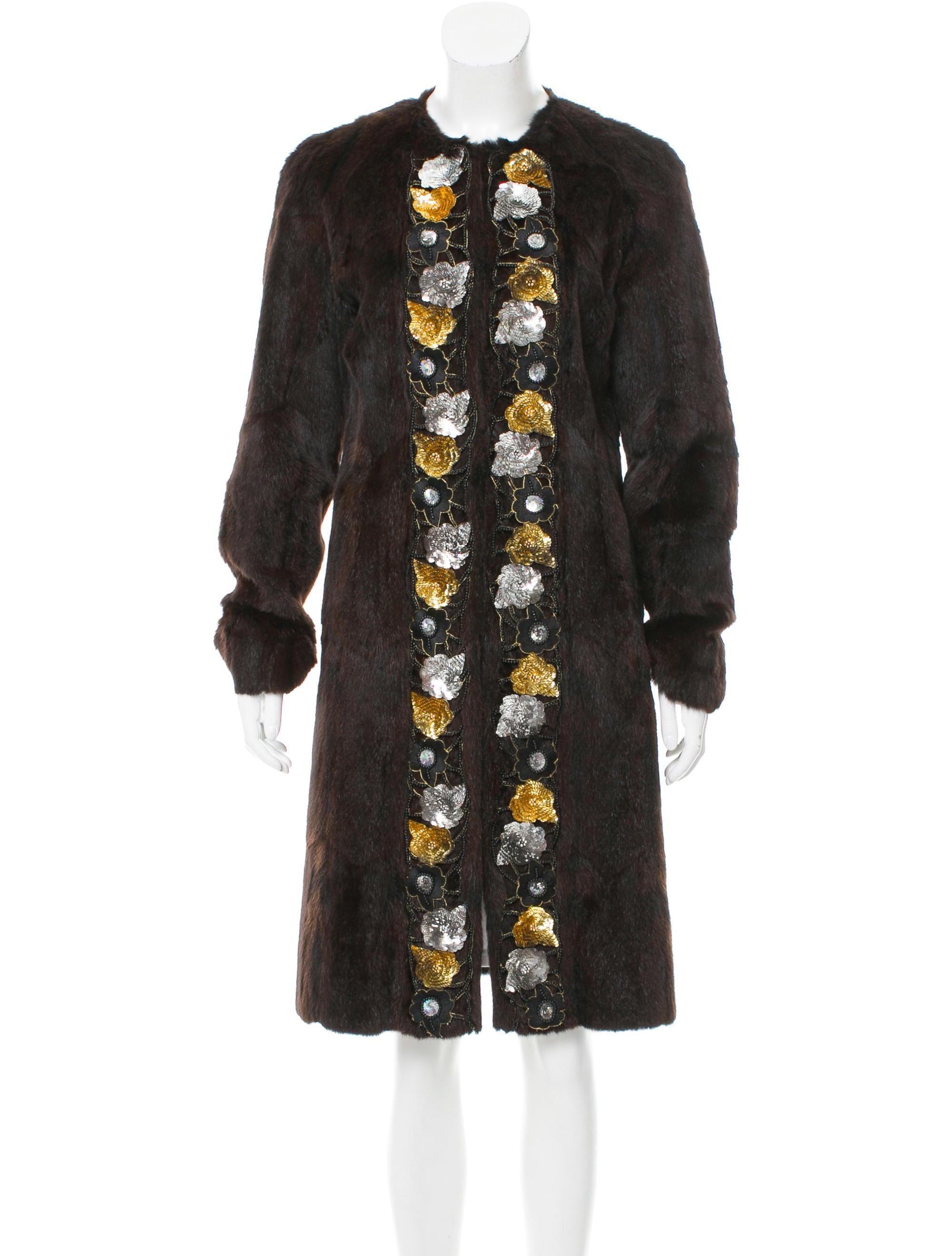 Miu Miu Sequin Accented Fur Coat Clothing Miu51642