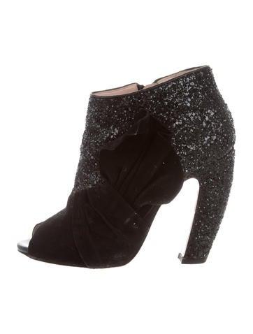 Miu Miu Peep-Toe Ankle Boots None