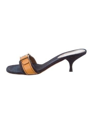 Miu Miu Denim Slide Sandals None