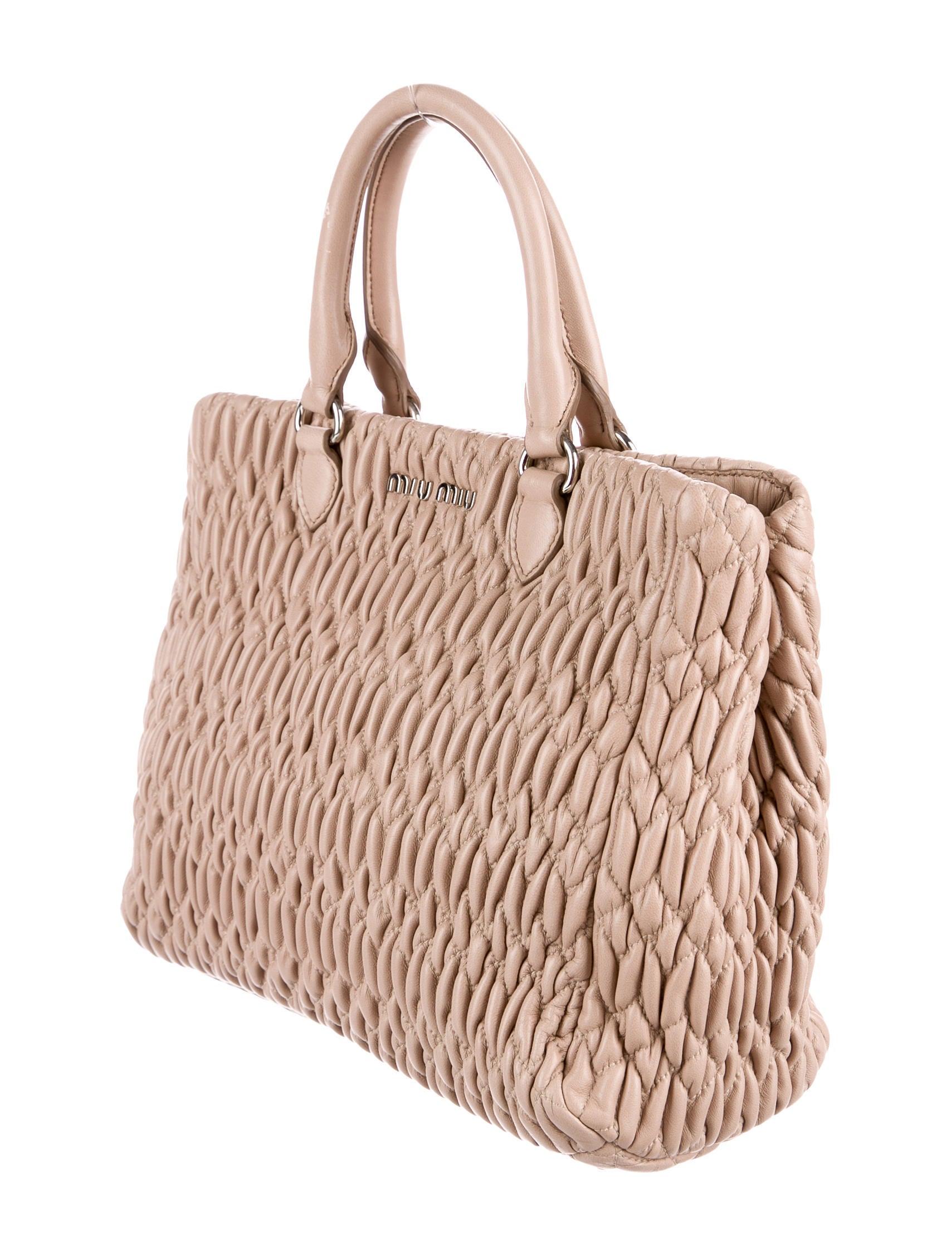 358cbf50ab9 Miu Miu Crystal-Embellished Matelassè Tote - Handbags - MIU52683