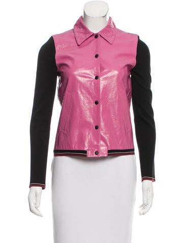 Miu Miu Rib Knit-Accented Leather Jacket None