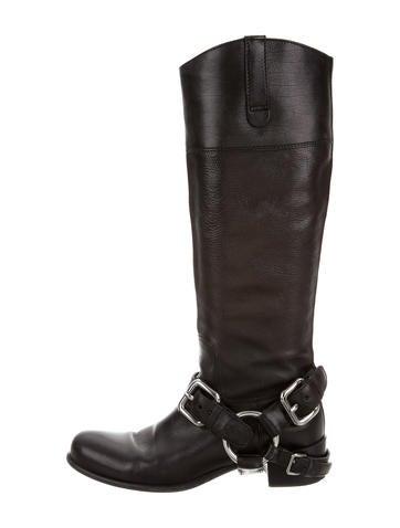miu miu knee high harness boots shoes miu53049 the
