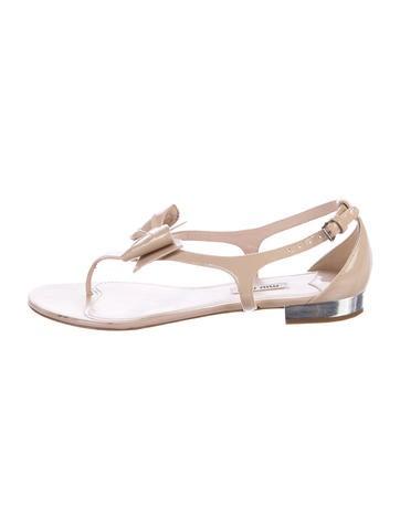 Miu Miu Bow-Accented Patent Leather Sandals None