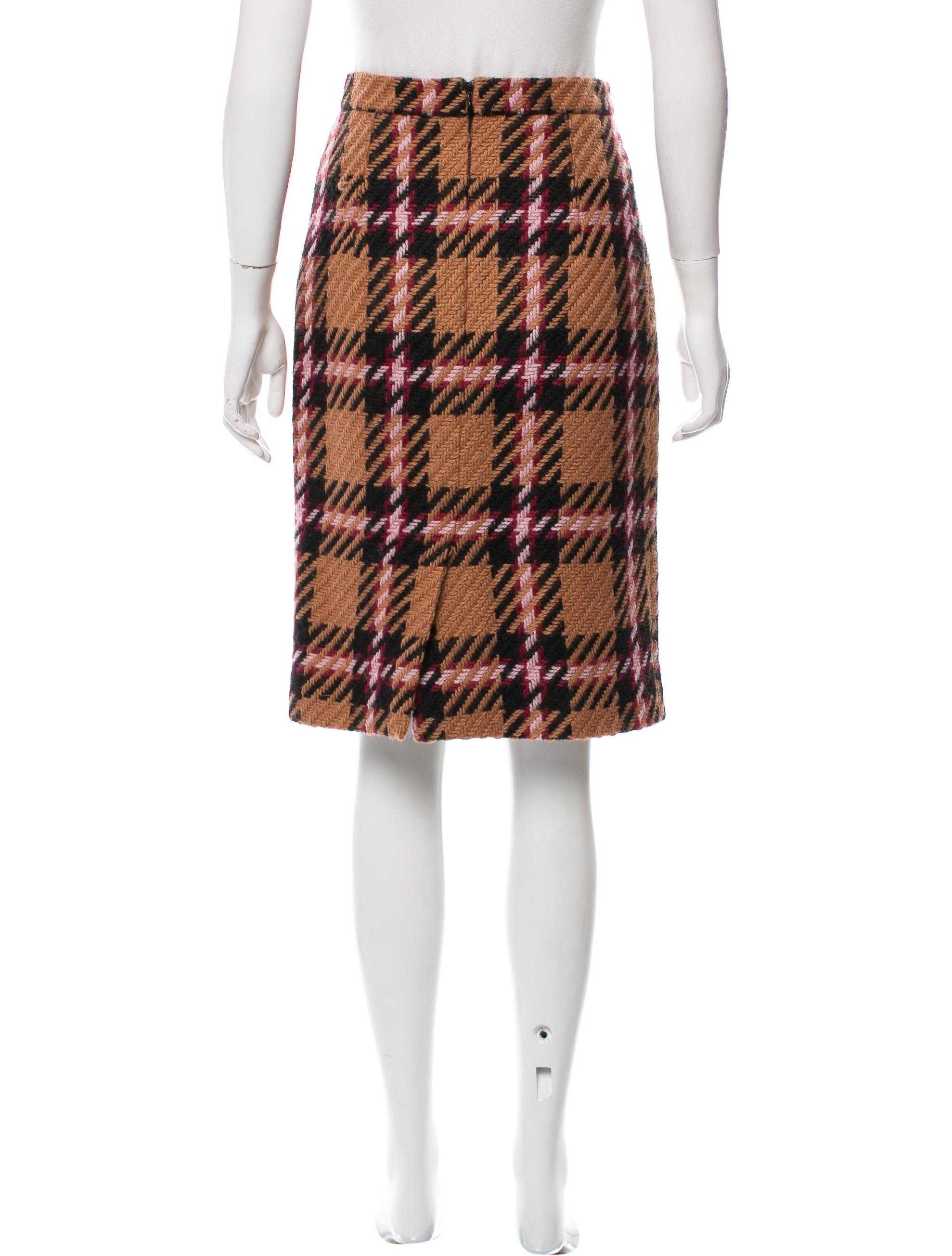 miu miu checker pattern pencil skirt clothing miu53664