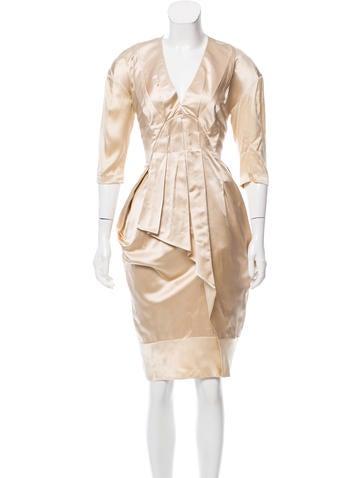 Miu Miu Silk Pleated Dress None