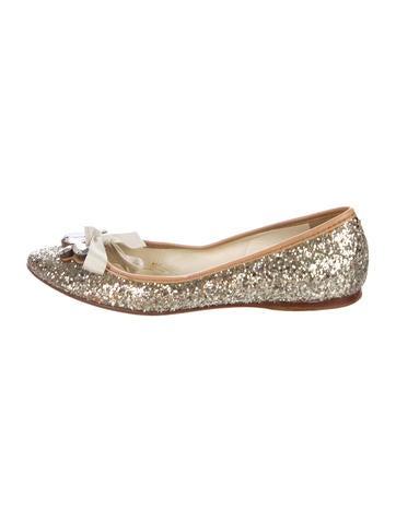 Miu Miu Embellished Glitter Flats None