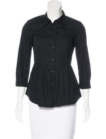 Miu Miu Pleated Button-Up Top None