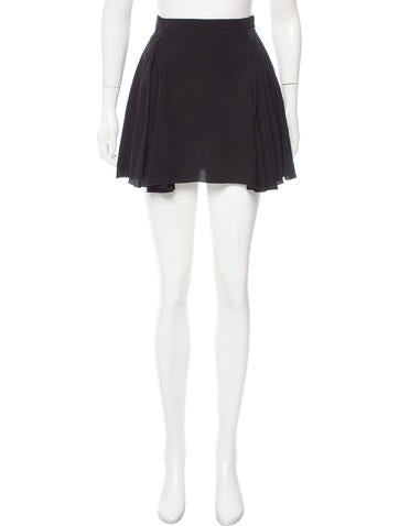 Miu Miu Pleated Silk Skirt None