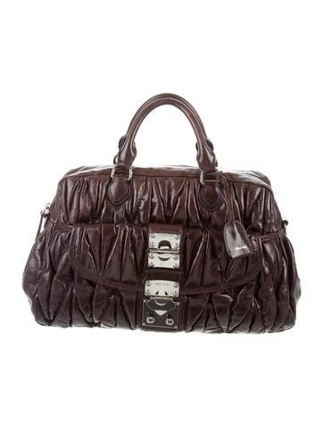 Miu Miu Matelassé Pleated Leather Bag None
