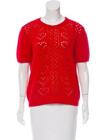 Miu Miu Cashmere Heart Patterned Sweater None