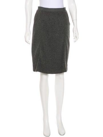 Miu Miu Virgin Wool Pencil Skirt None