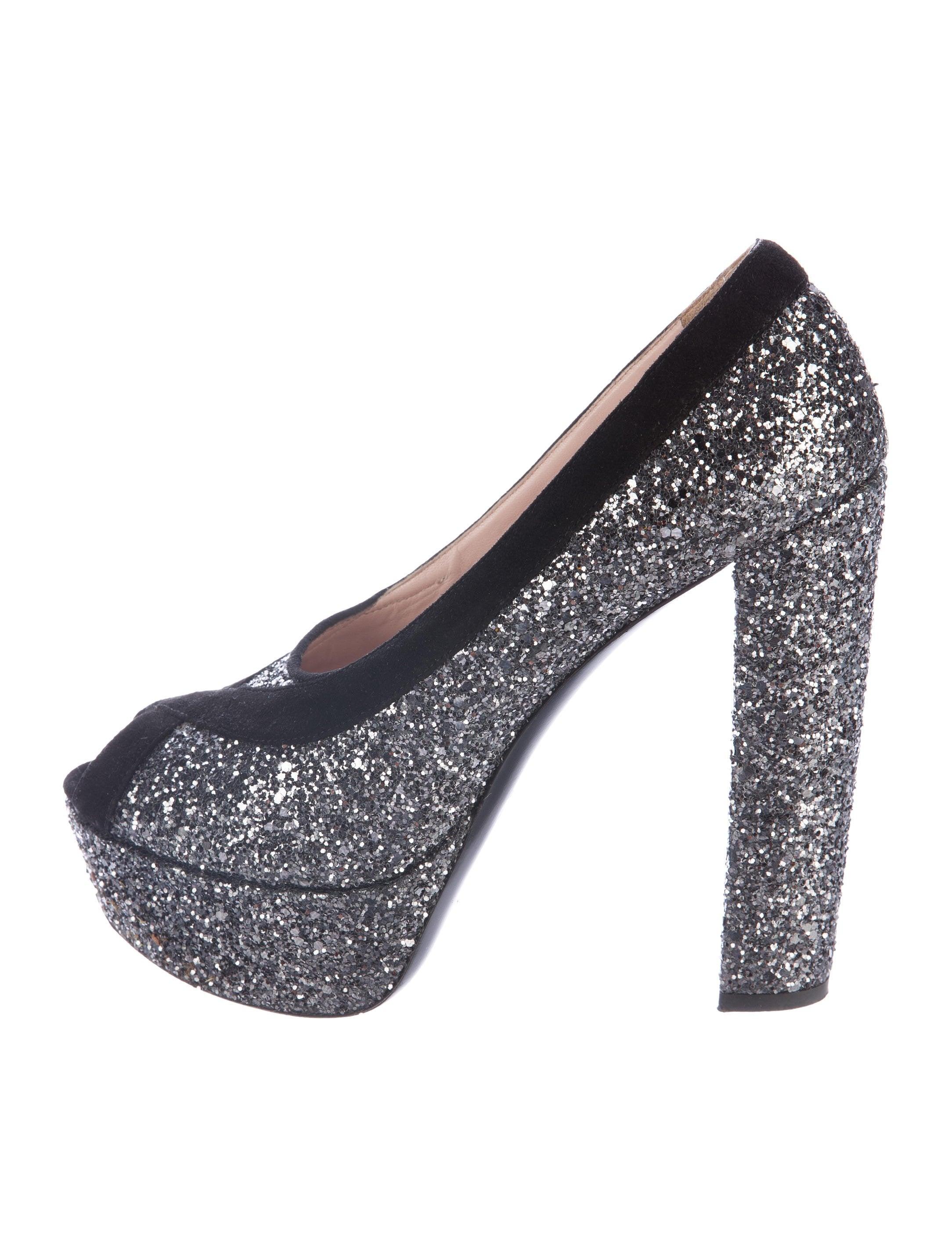 15f1f64cf42d Miu Miu Glitter Peep-Toe Pumps - Shoes - MIU56778
