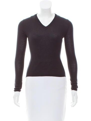 Miu Miu Long Sleeve V-Neck Sweater None