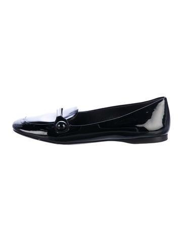 Miu Miu Patent Leather Round-Toe Loafers None