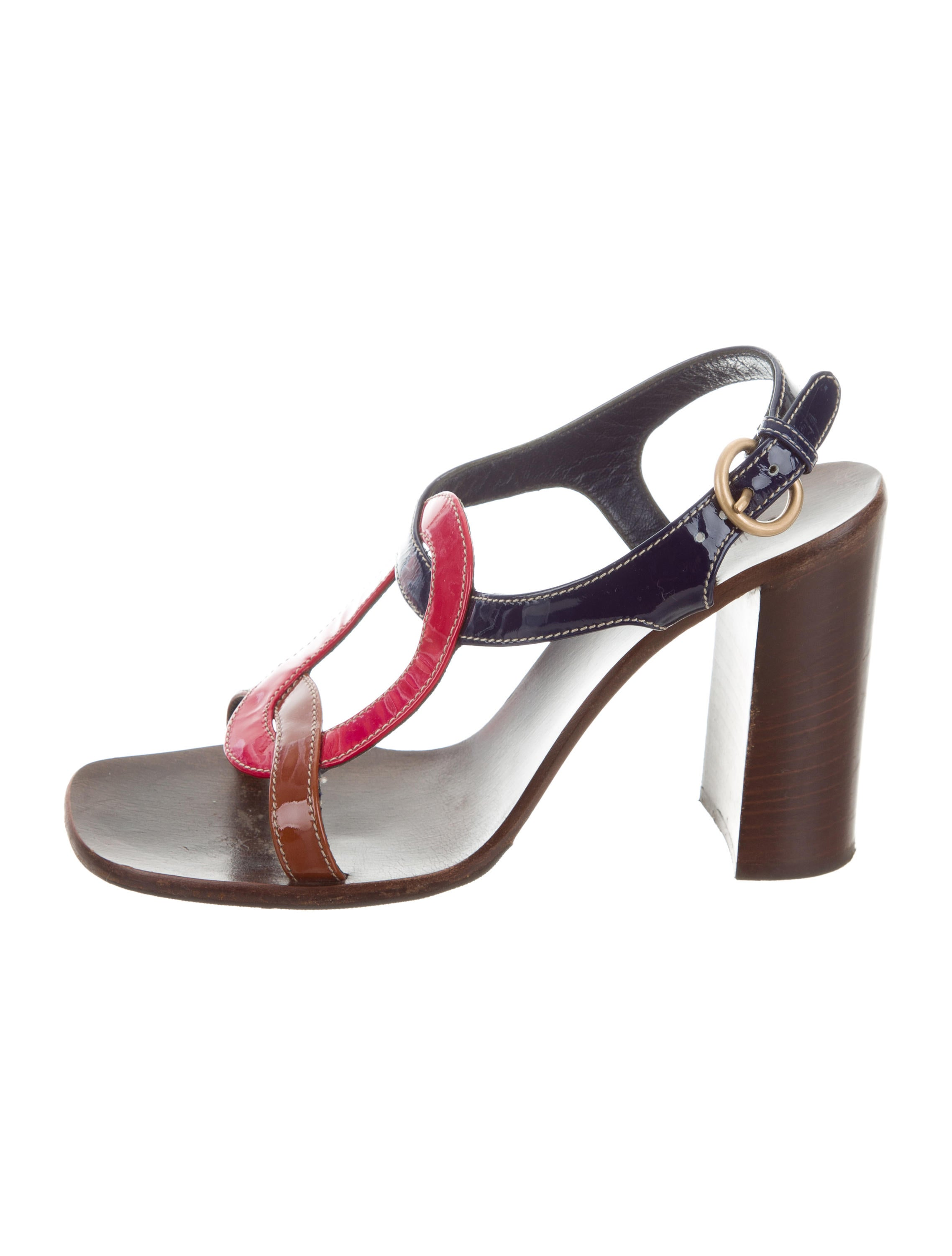 visa payment cheap online free shipping release dates Miu Miu Patent Leather Colorblock Sandals buy cheap Manchester egGGRDy