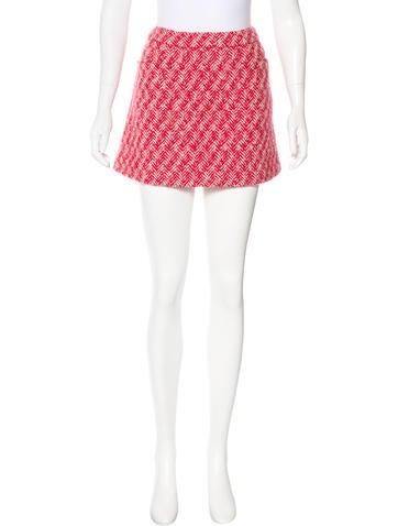 Miu Miu Herringbone Mini Skirt None