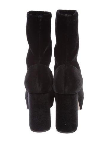 b0c6aa23c05 Miu Miu Velvet Platform Ankle Boots - Shoes - MIU58750