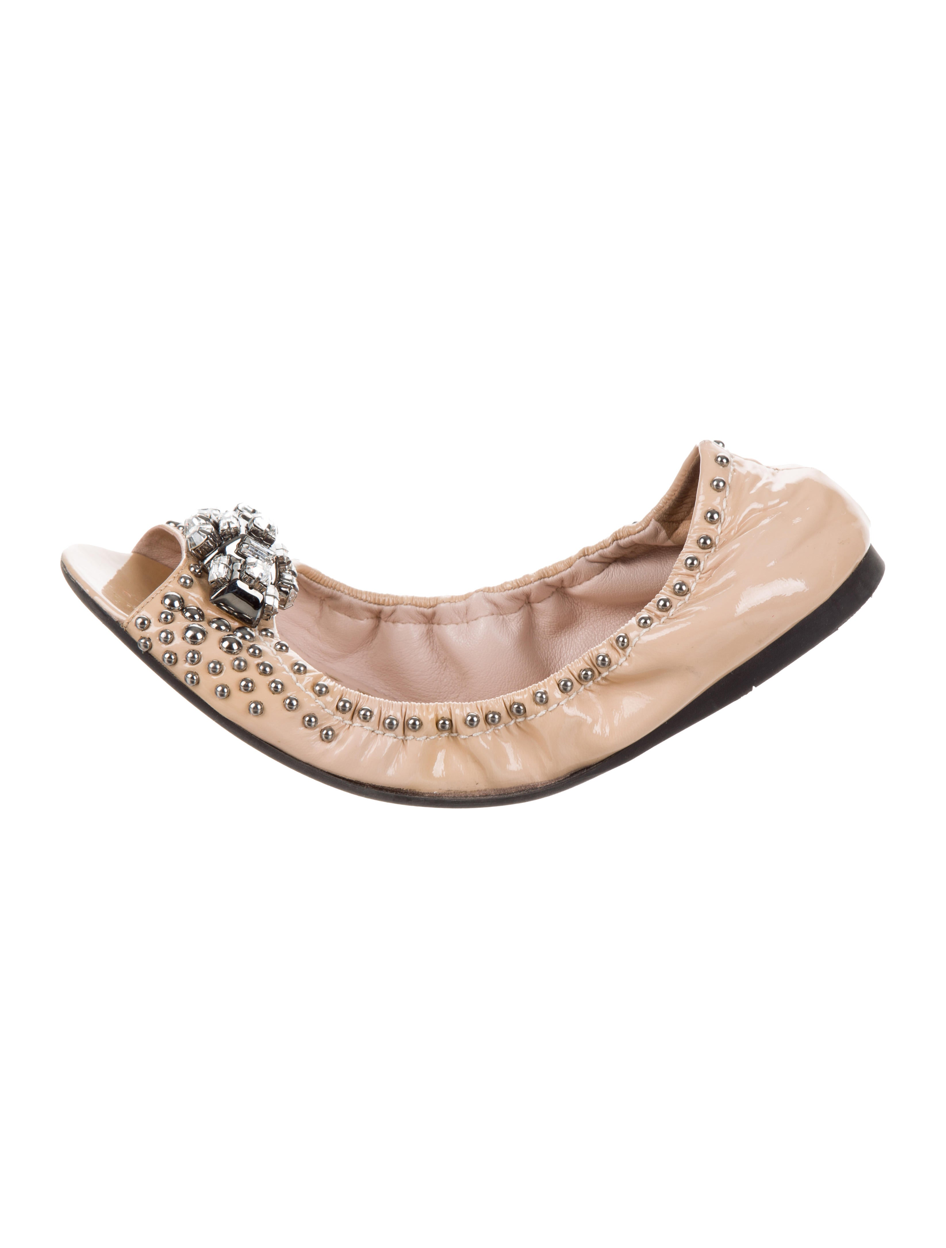 Miu Miu Embellished Peep-Toe Flats outlet extremely buy cheap 100% guaranteed outlet store Locations under $60 outlet pay with visa U4Vf5zw