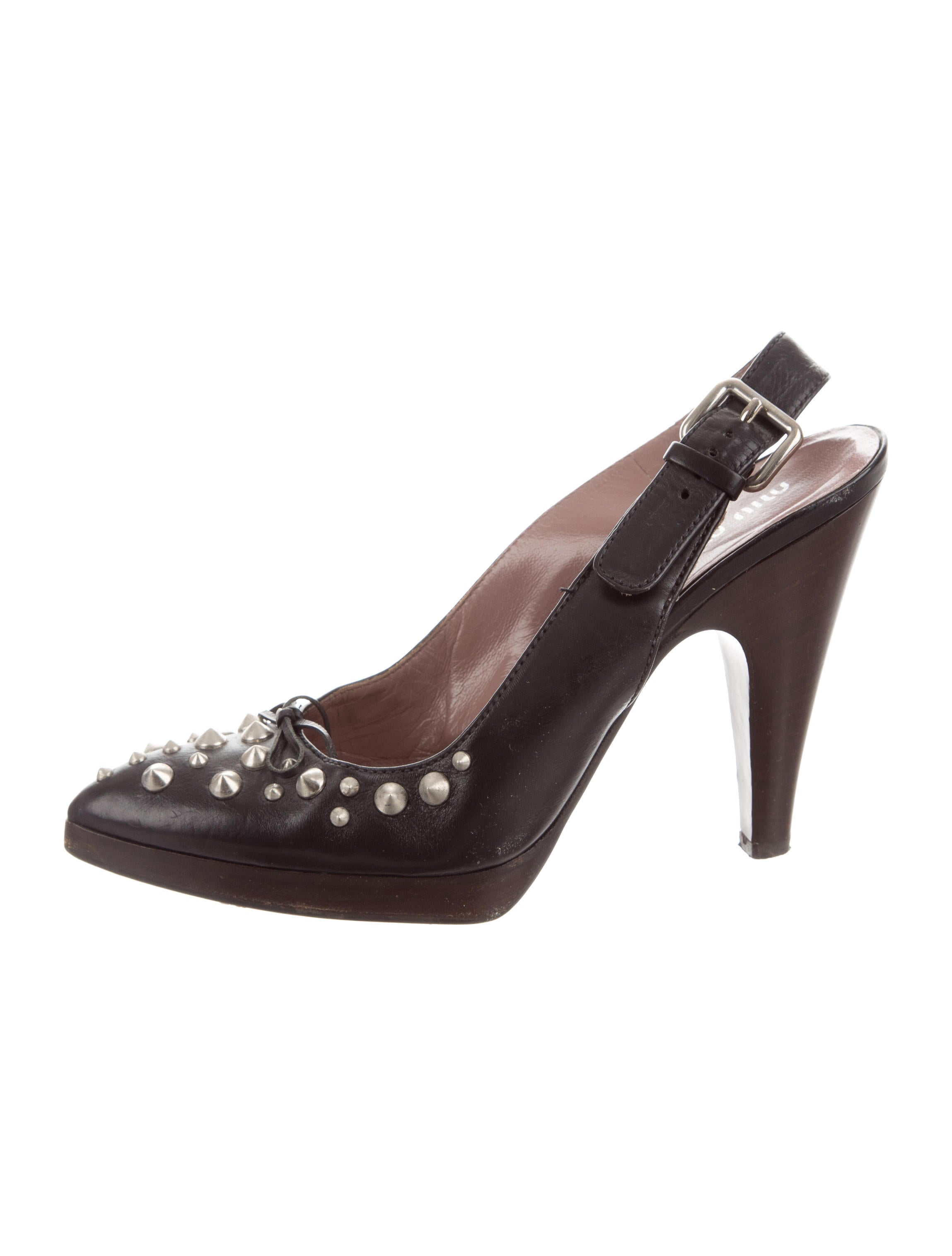 get to buy cheap price Miu Miu Studded Slingback Pumps cheap shop clearance visit new cheap recommend co4m03ccW