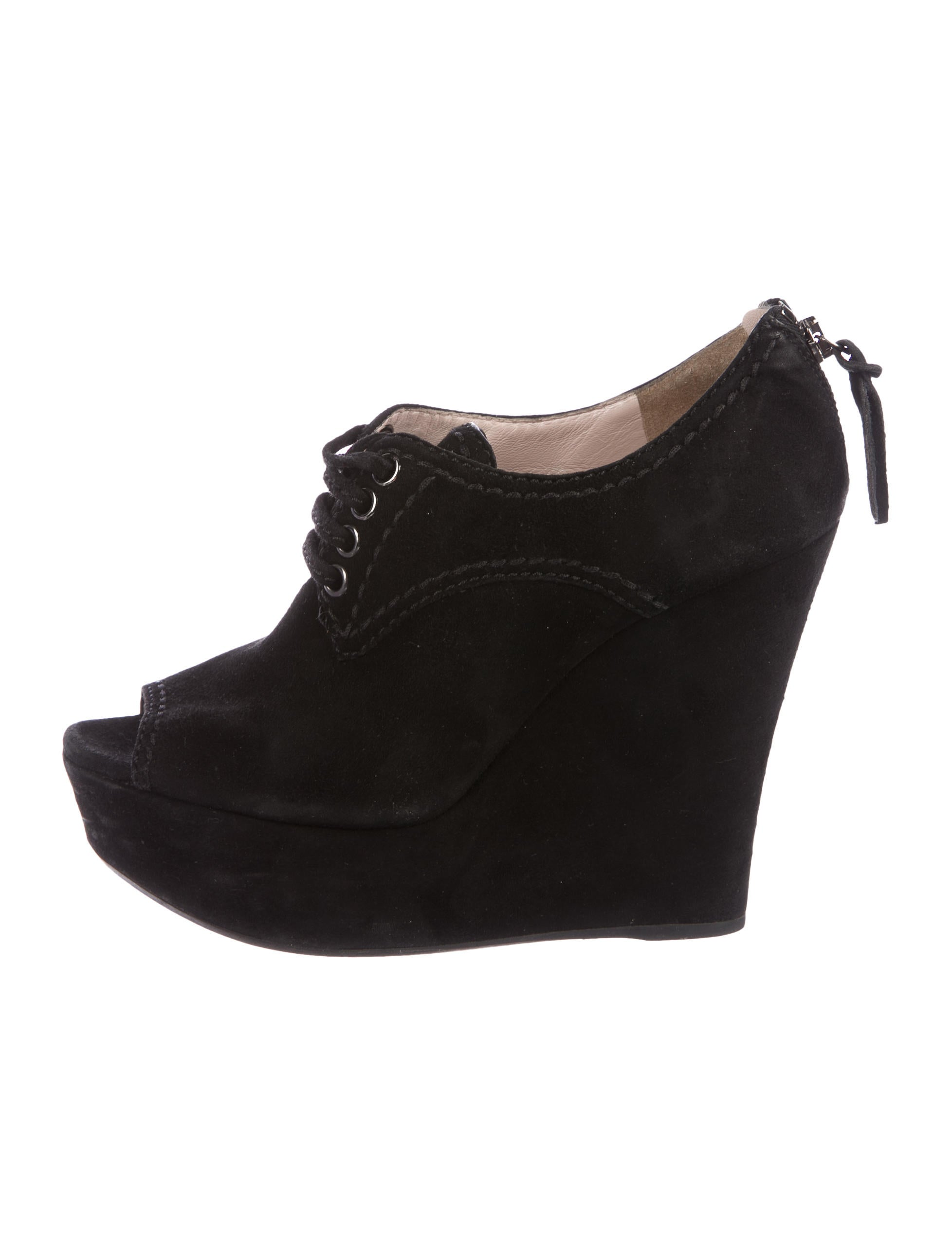 outlet online Miu Miu Lace-Up Wedge Booties cheap factory outlet very cheap for sale s43kFhVcLa