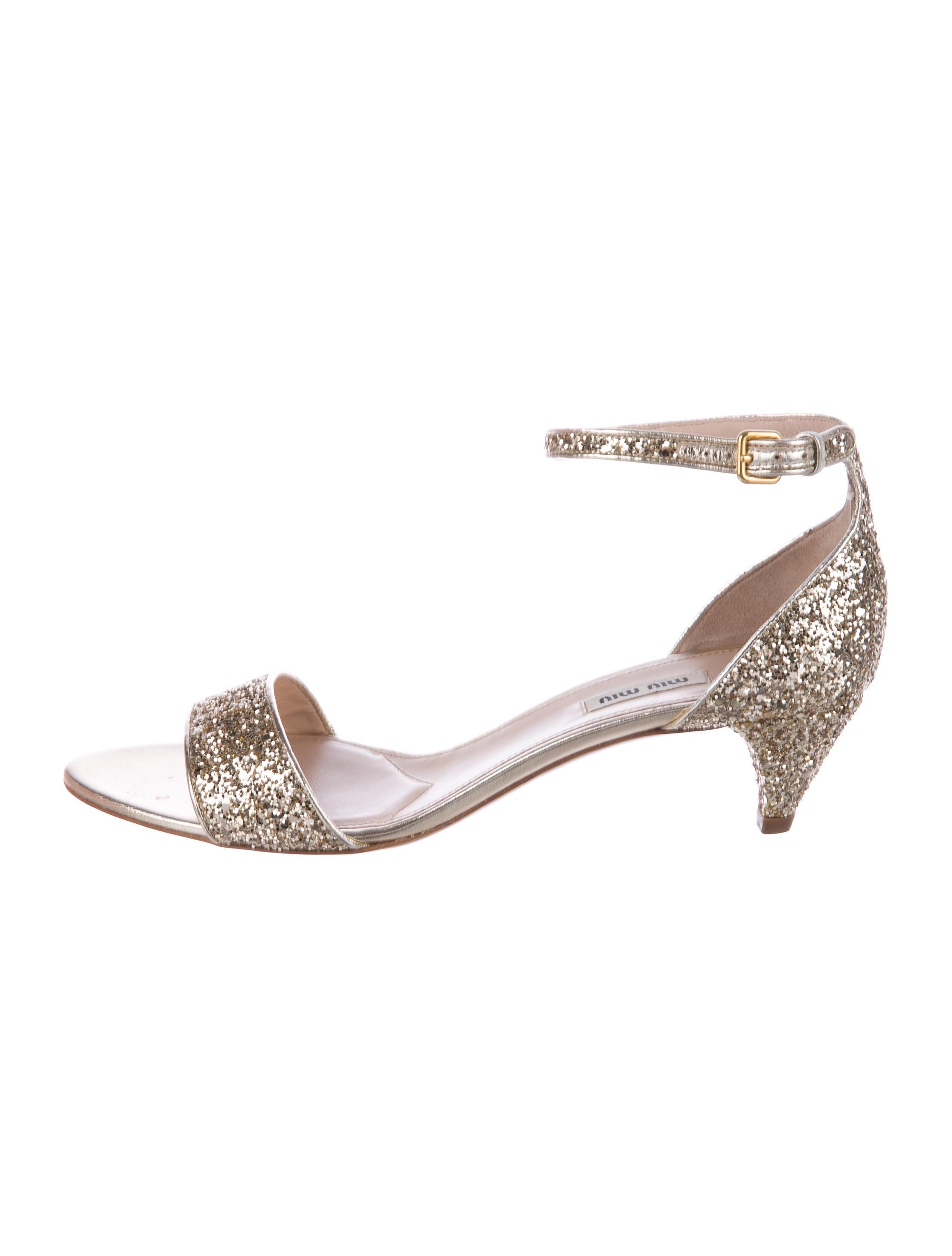 Miu Miu Glitter Ankle Strap Sandals w/ Tags discount sale very cheap online woivnyLT7y