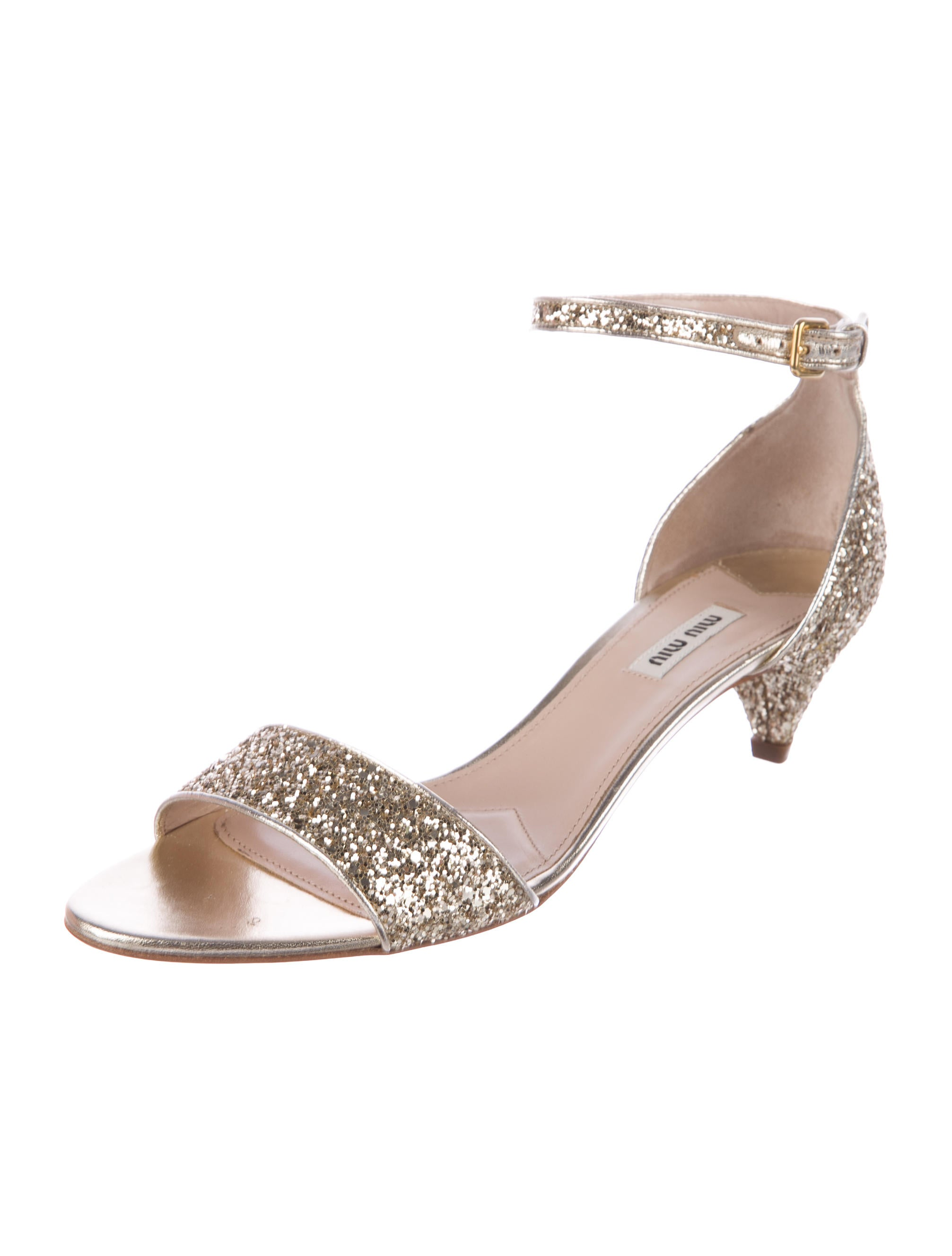Miu Miu Glitter Ankle Strap Sandals w/ Tags high quality cheap online buy cheap purchase clearance view cNhZZbZWYD