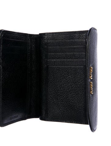 Grained Leather Compact Wallet w/ Tags