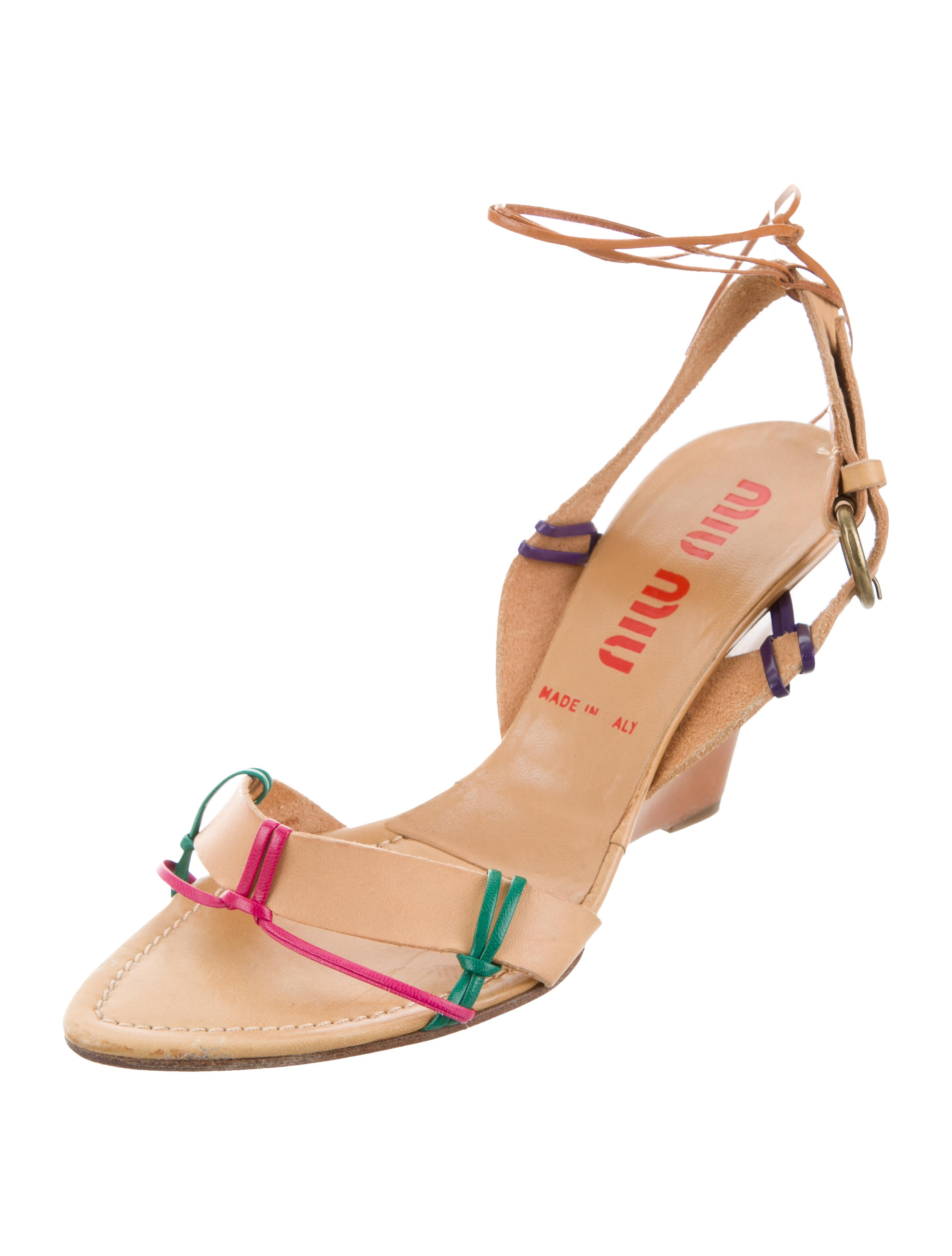 buy cheap visa payment Cheapest for sale Miu Miu Multicolor Slingback Wedges professional cheap price YvsSFdQVX