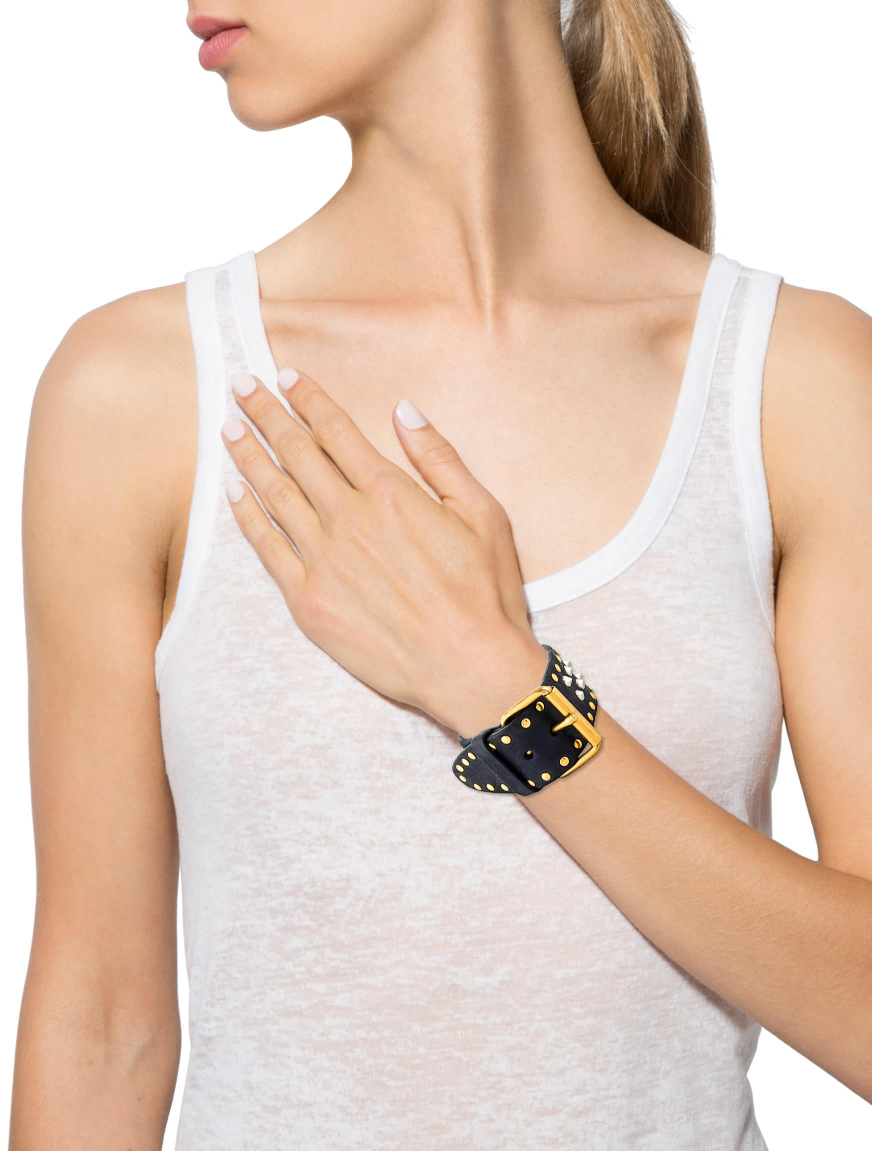 miu gold metallic studded lyst buckle leather jewelry in bracelet