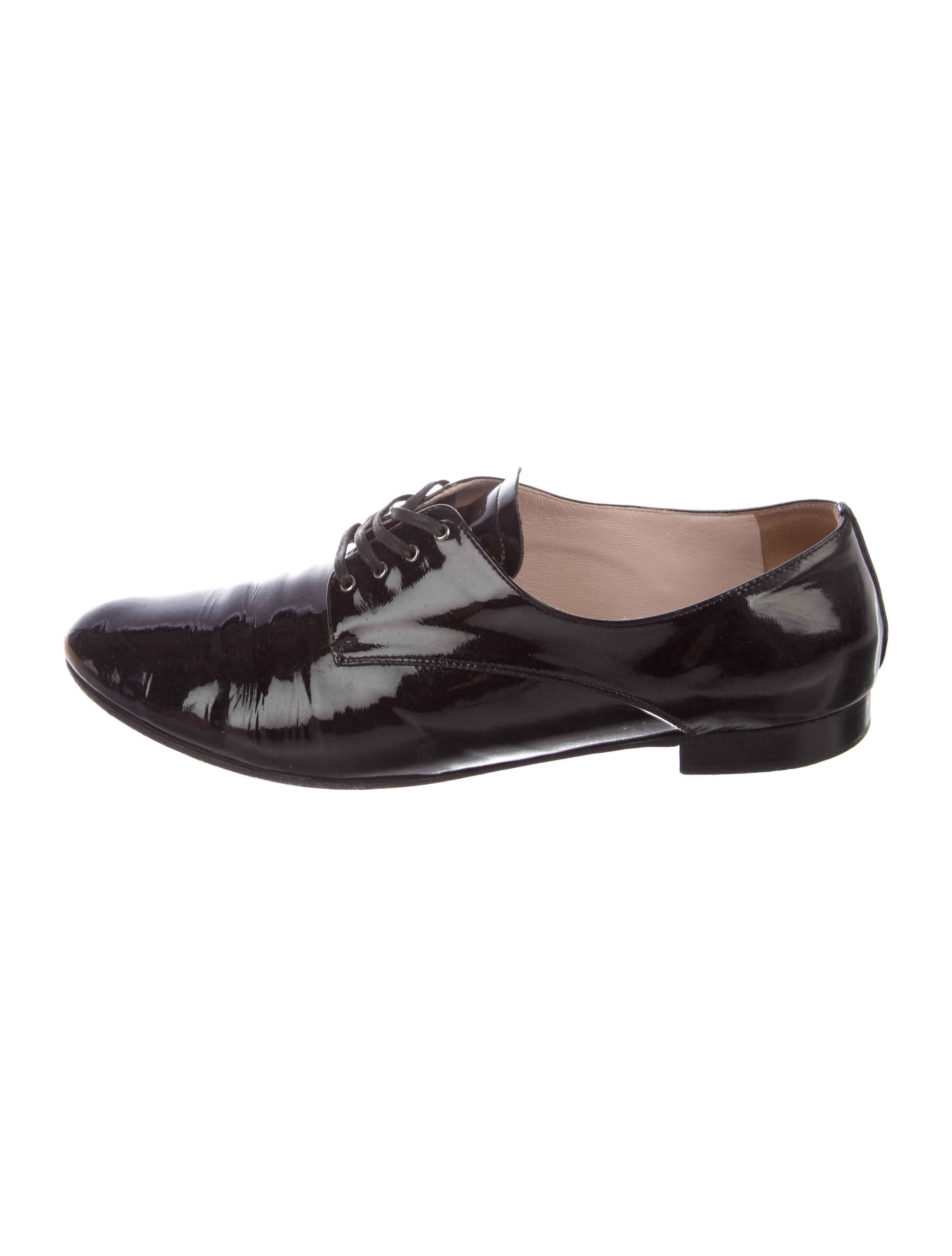 Miu Miu Patent Leather Round-Toe Oxfords - Shoes - MIU60790  4e83af80606a