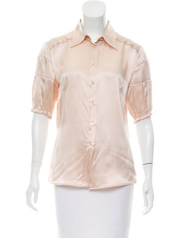 Miu Miu Silk Button-Up Top None