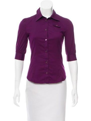 Miu Miu Three-Quarter Sleeve Button-Up Top None