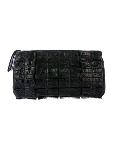 Miu Miu Pleated Leather Clutch None