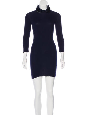 Miu Miu Sequin Rib Knit Dress None