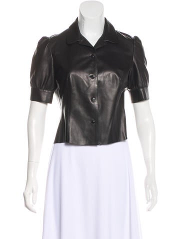 Miu Miu Leather Button-Up Top None
