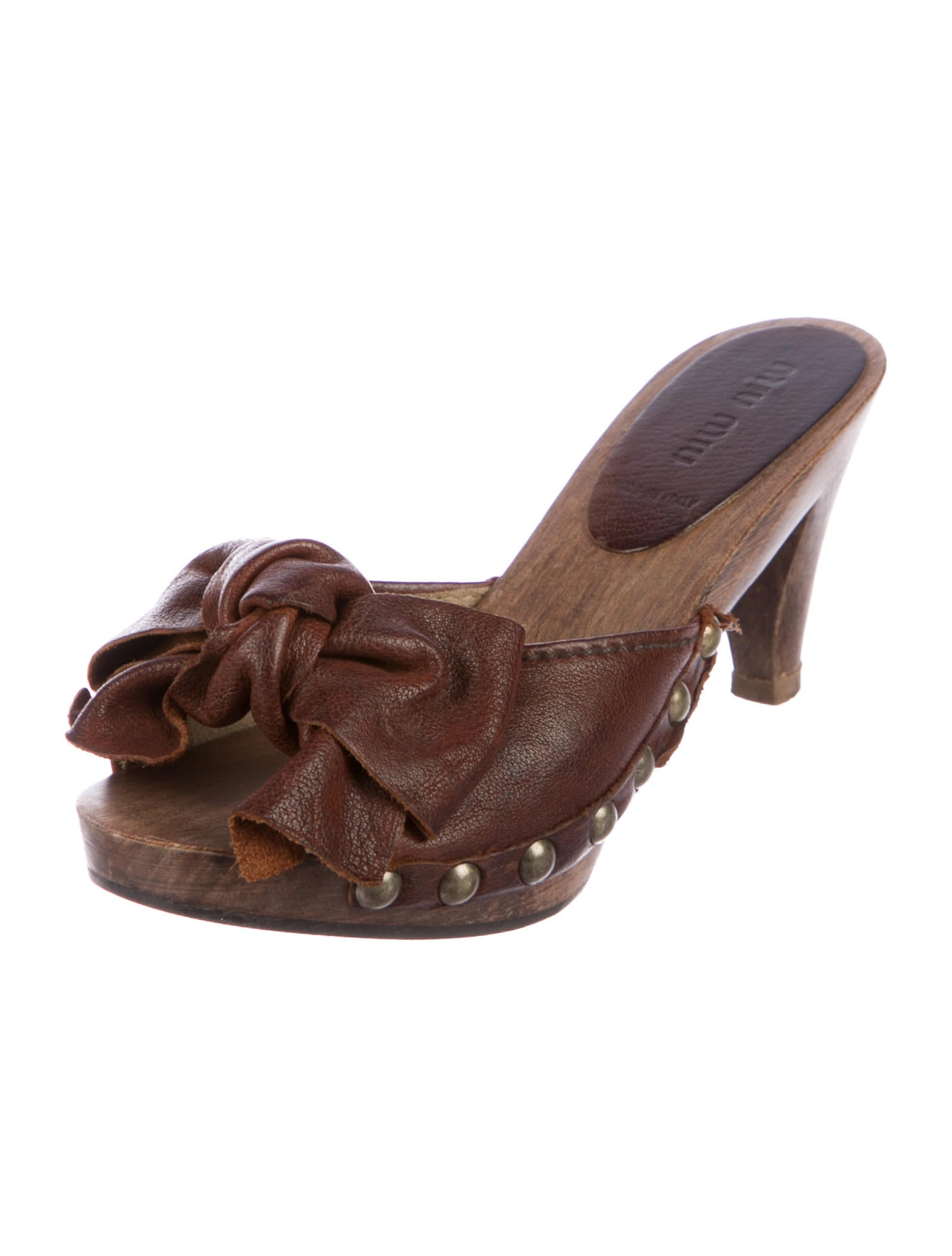 Miu Miu Leather Clog Mules w/ Bows explore online buy cheap the cheapest bsJ8Y