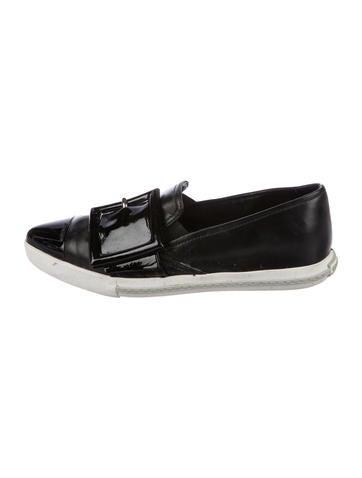 Miu Miu Leather Slip-On Sneakers None