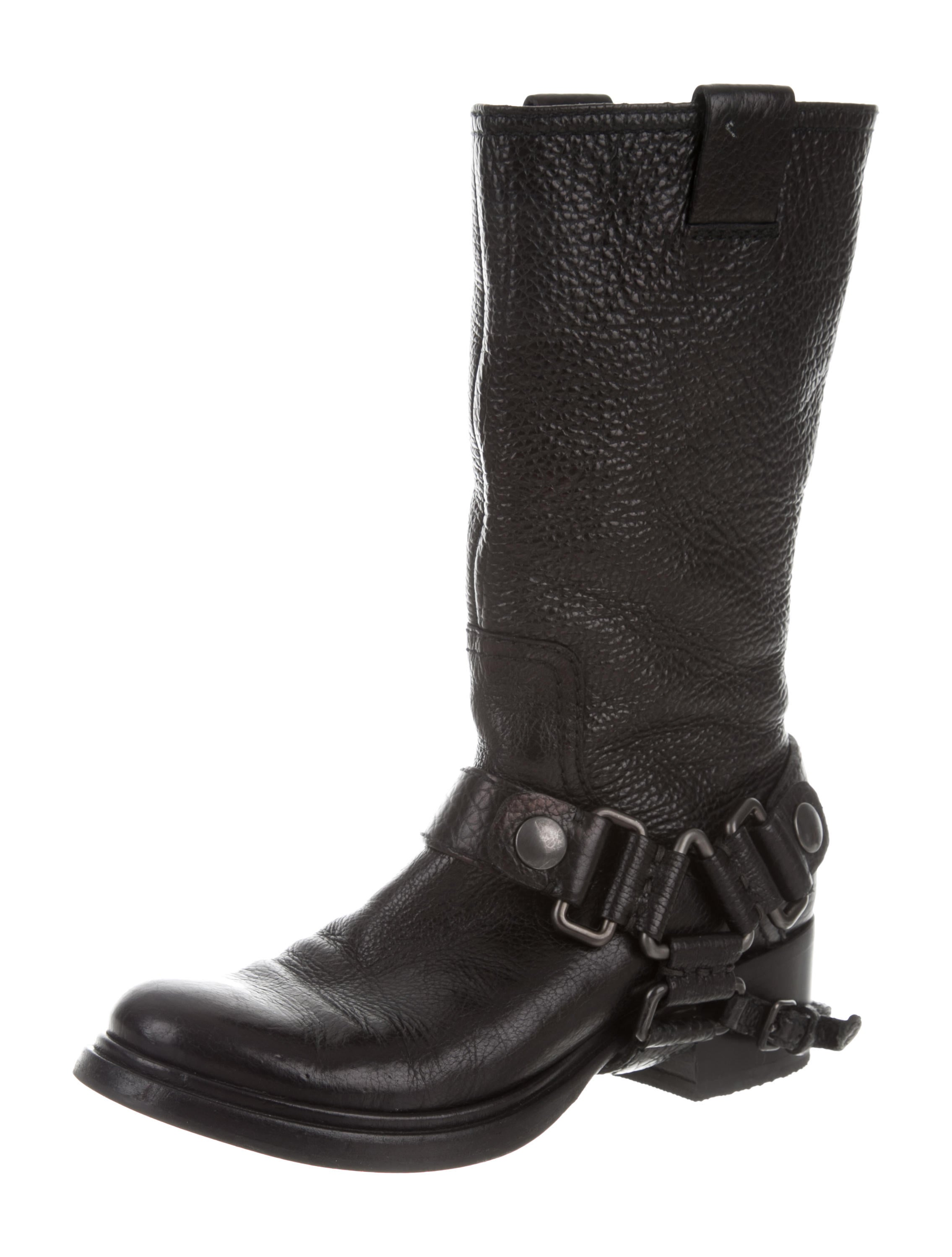 finishline online Miu Miu Leather Moto Boots visa payment cheap online sale 2014 newest K0S3rDD