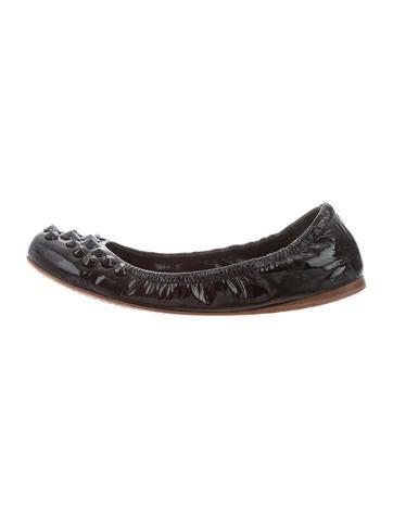 Miu Miu Patent Leather Embellished Flats None