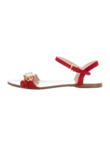Miu Miu Embellished Suede Sandals None