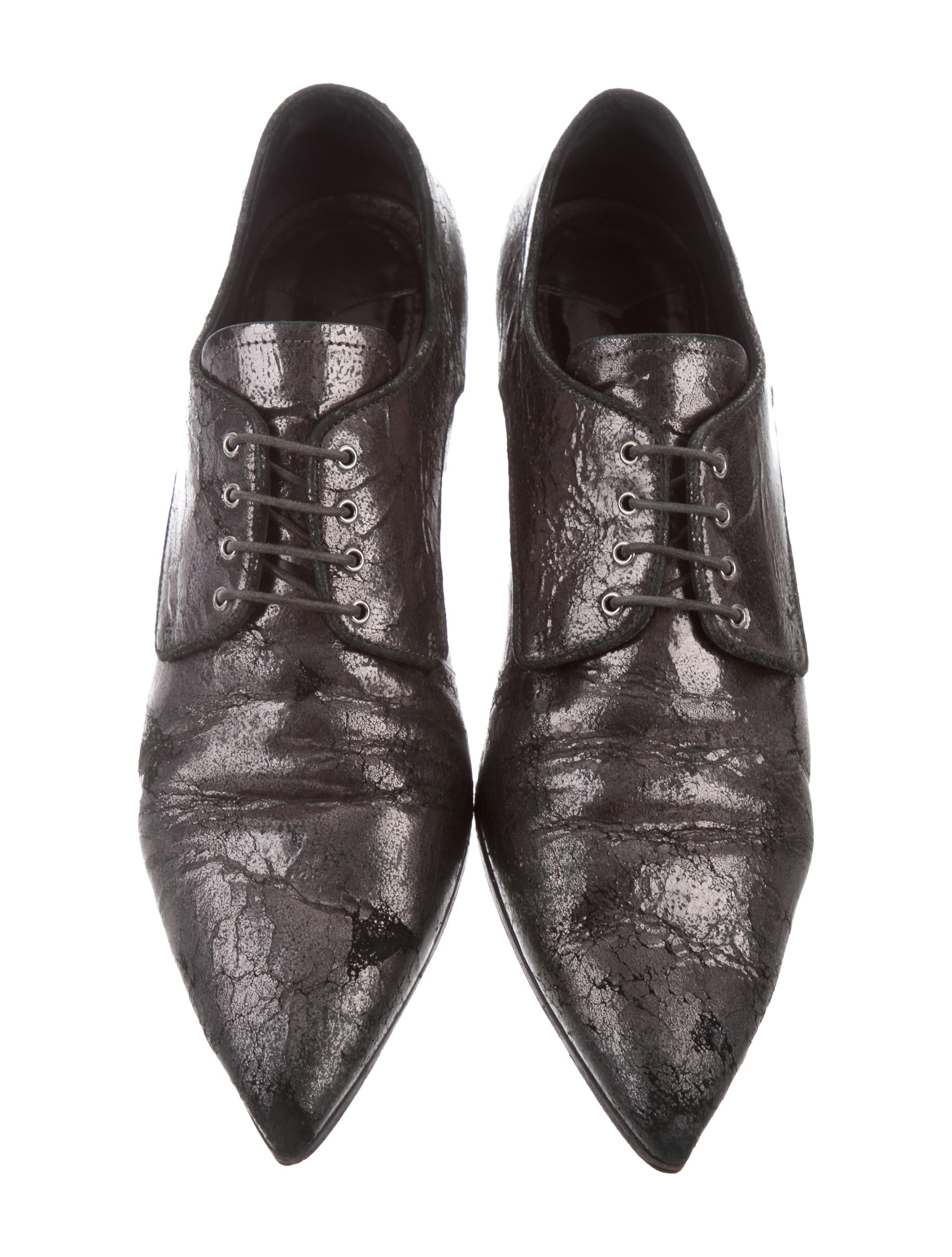 clearance outlet Miu Miu Distressed Pointed-Toe Oxfords buy cheap for nice discount order clearance shop cheap sale finishline fkLkZw