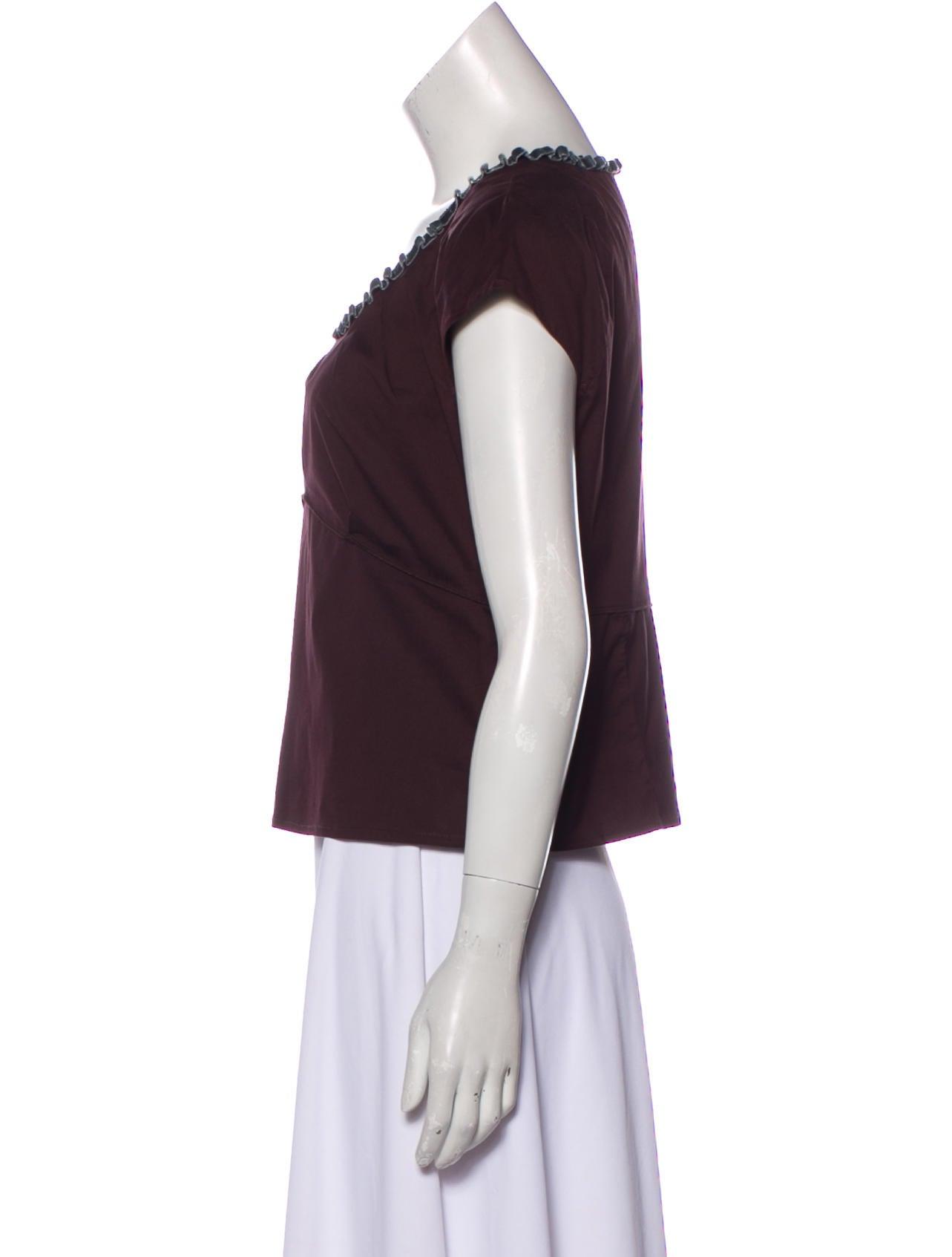 4a09cea02aa Miu Miu Pleated Short Sleeve Blouse - Clothing - MIU68766