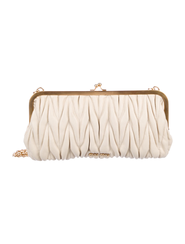 9658314e3f1 Miu Miu Quilted Leather Evening Bag - Handbags - MIU70741